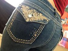Earl Jeans SIZE 14  Bling Flap Pocket Stretch Western Scroll  Capri's-Sexy! NEW