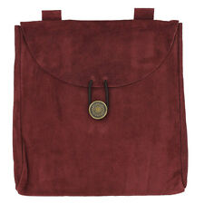 Wine Berry Red Suede Great Knight's Belt Pouch of Holding with Closure Costume