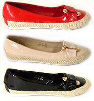 Ladies Womens Flat Slip On Espadrilles Pumps Canvas  Plimsoles Shoes Size 3 - 8