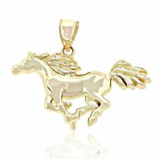 Gold Horse Charm, 14k Solid Gold, Galloping Horse, Animal Jewelry, Pendant
