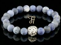 Sodalit matt - silberfarbener Löwenkopf - Armband Bracelet Perlenarmband 8mm
