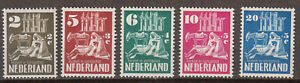 Netherlands - 1950 Restoration of ruined churches Sc# B214/B218 - MH (8051)