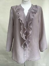 2092bc3a5d8 Cut Loose Top Gray Ruffle Front V-Neck 3 4 Length Sleeves Button Front