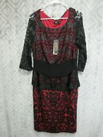 New Igigi Dress Size 12 Black and Red Pull Over Long Sleeve Formal Business