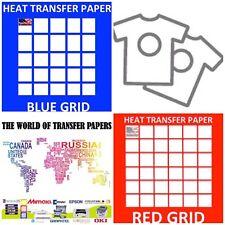 "InkJet T Shirt HEAT TRANSFER PAPER Combo 100 Sh Each  Dark & Red Grid 8.5x11"""