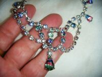 VINTAGE Czech OPEN BACK TEAR DROP IRIS RHINESTONE CRYSTAL SWAG BIB NECKLACE