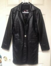 GV Black Leather Coat Hand Made in italy Women's Size S-M