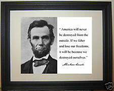 "Abraham Lincoln "" America "" Facsimile Autograph Quote Framed Photo Picture #g1"