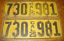 1925 California Plates Chrysler Franklin Hupmobile Duesenberg Overland Auburn