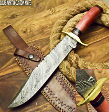 LOUIS MARTIN CUSTOM HANDMADE FIXED BLADE DAMASCUS HUNTING BOWIE KNIFE CAMEL BONE