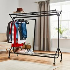 Black Heavy Duty Hanging Clothes Garment Rail with Shoe Rack Shelf and Hat Stand