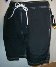 NEW Nautica swim trunks shorts solid black swimsuit sz Medium 34