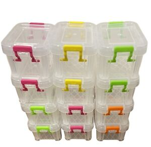 12x 0.2L Plastic Storage Tub Boxes with Clip on Lids Paper Clip tubs Office