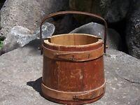 Antique Wood Bucket Pail Firkin Style Farm Primitive
