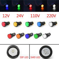 LED Pilot Panel Indicator Signal Warning Light Lamp Red Grn Blu Yel Whi 22mm