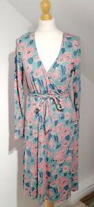 Seasalt Uk 12 Cosmos Faux Wrap Dress Camellia Sage Bamboo Blend Long Sleeve