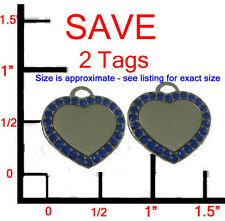Designer Small BLUE Sapphire Hearts!2 Pet Dog ID Tags Charm set - FREE ENGRAVING