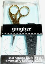 "Gingher Gold-Handled STORK Embroidery Scissors 3 1/2"" Item #G-ST"