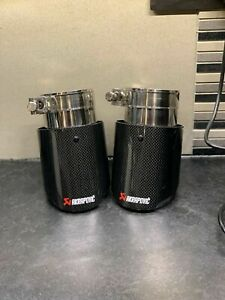 """Akrapovic silver style exhaust tips 3"""" genuine carbon fibre stainless steel"""