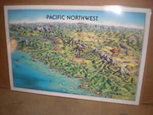 Laminated Poster Map Pacific Northwest - Unique Media, Artistic Illustration Map