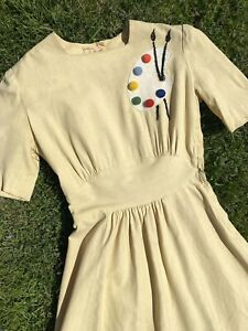 1940's PAINTER'S PALETTE DRESS Linen Vintage 1950s 40s Pom Pin Up Perry Brown
