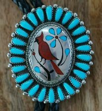 Old Pawn BOLO TIE, Turquoise Petit Point, Inlaid CARDINAL Design Sterling Silver