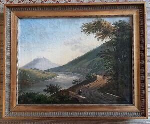 Romantik Biedermeier Gemälde Öl auf Leinwand Flußlandschaft