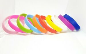 10 x Silicone Wristbands Plain Rubber Festival Events Charity Bands Adult UK