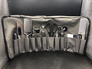Wolfgang Puck 12 Pc. Prep & Garnish Set Gray & Black Stainless Steel Tools NOB