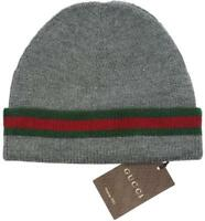 NEW GUCCI KNIT WOOL SILK WEB DETAIL BEANIE HAT 100% AUTHENTIC 58/MEDIUM