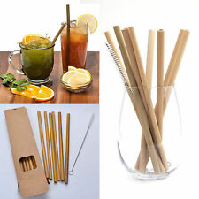 10pcs Bamboo Drinking Straws Reusable Eco-Friendly Party Kitchen + Clean Brush