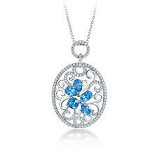 Real 14k White Gold Natural Diamond & Blue Topz Fancy Women Gemstone Pendant