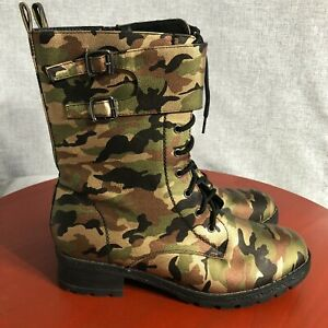 Mark & Maddux Women's Size 10 Shoes Camouflage Black Lace Up Comfort Combat Boot