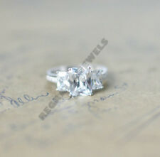 2 ct radiant brilliant cut diamond three stone wedding ring 14k white gold over
