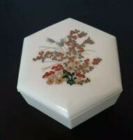 Vintage Collectible Ivory Plastic Covered Trinket Hexagon Bowl with Lid