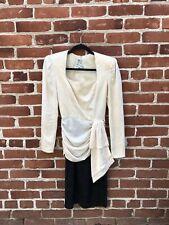 A.J. Bari Vintage Black White Formal Cocktail Evening Dress 100% Silk Size 4