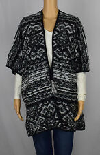 Lucky Brand Womens Black White Printed Tie-Front Poncho Cardigan One Size