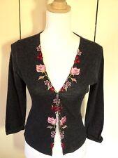 AXARA PARIS cardigan with  embroidered floral grey jacket cardigan  top