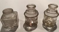 3 Vintage Antique Ink Bottles Ink Wells Great Bubbling 2 oz. Bottles 0509