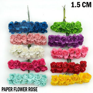 72/144 PAPER BUNCH ROSES FLOWER SMALL 1.5cm HEAD DIY WEDDING CARD WREATH GARLAND