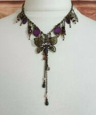 Gold Tone Chain Necklace Butterfly Pendant STATEMENT Costume Jewellery Purple