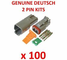100 X Deutsch 2 Pin Connector Kits With Terminals Male Female Plugs Waterproof