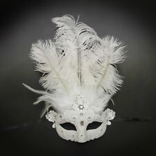 Feather Venetian Masquerade Mask for Women M8339 White