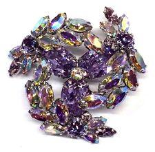 Vintage Sherman Signed AB Crystal Purple Rhinestone Layered Brooch
