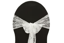 """100 VINTAGE LACE CHAIR COVER SASHES BOWS 7"""" x 108"""" WEDDING PARTY EVENT MADE USA"""