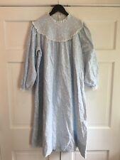 Vintage Lanz of Salzburg Blue White Cotton Flannel Nightgown Sz S M