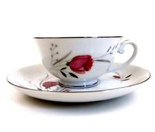Sterling Rose Diamond China Cup and Saucer Vintage 1960s