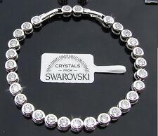 Bracciale Tennis  donna Braccialetto,oro 18K bianco cristalli veri SW8/1 bianchi
