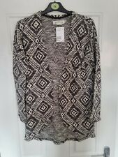 H&M Black/White Pattern Edge To Edge Cardigan Size Eur 146/152 Age 10-11