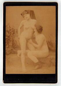 Lesbian pleasures Cabinet card albumen photo nude woman original early 1890s